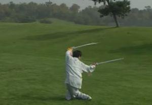 Chen Zhenglei perfoms double saber