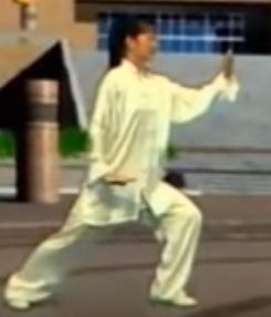 Amin Wu is doing 24-form, in which gong bu is the basic forward step.